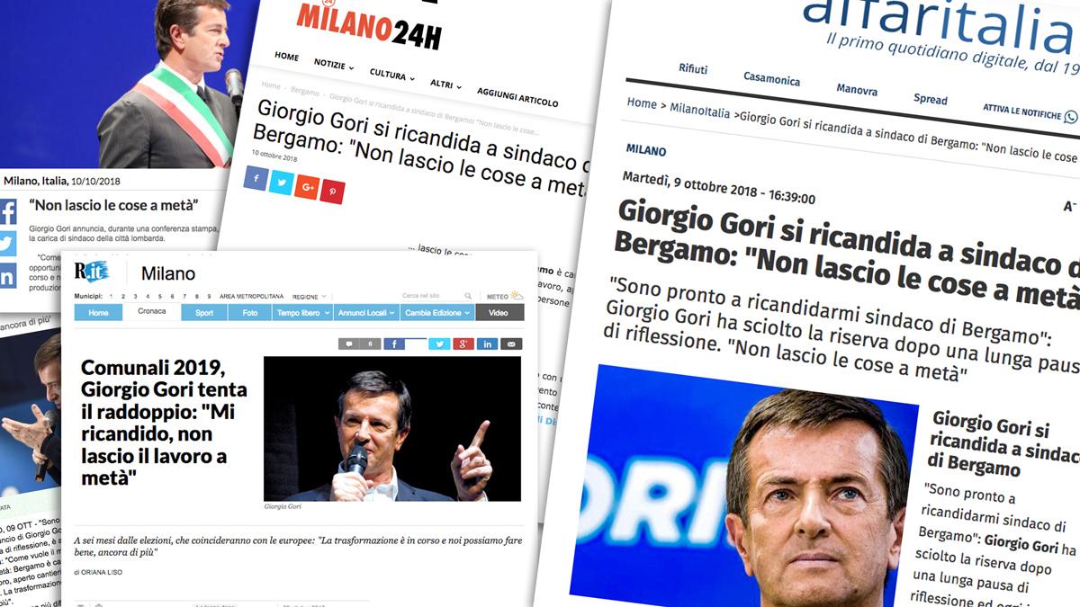 I giornali riportano l'incipit della ricandidatura di Gori