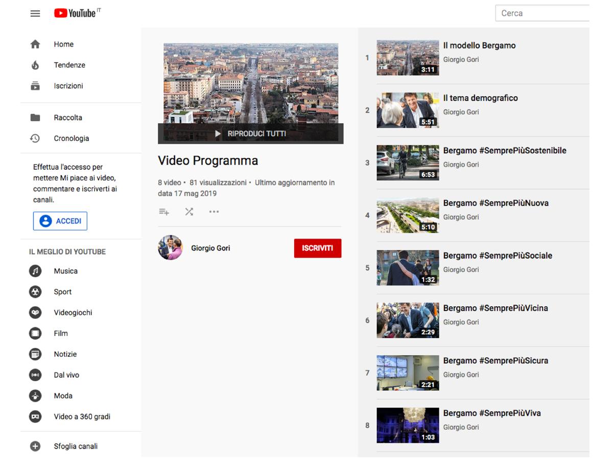 Il canale youtube con i video della campagna