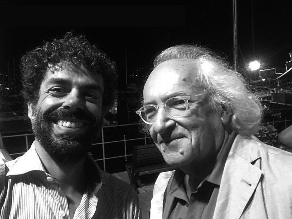 Io e Aldo Cristadoro (a sinistra) a Sanremo