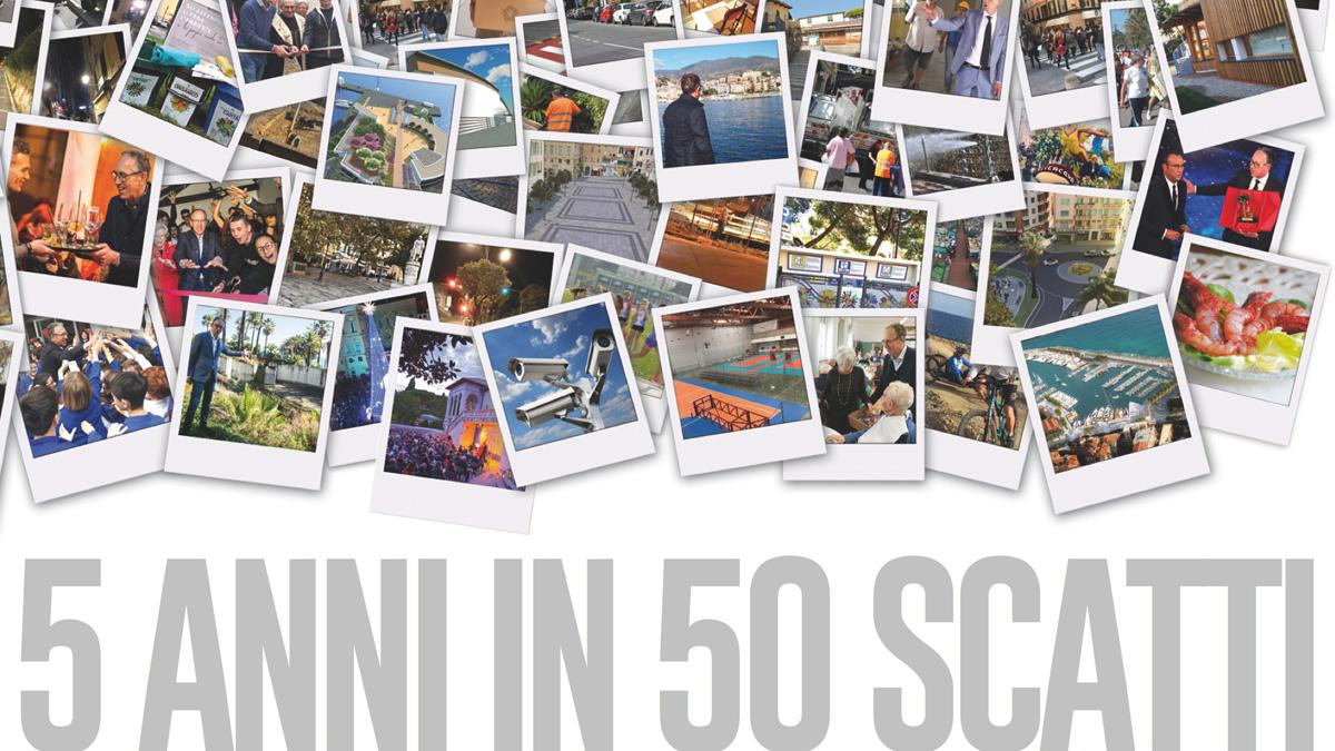 Il mega pannello che documenta i 5 anni di realizzazioni affisso al Point Biancheri