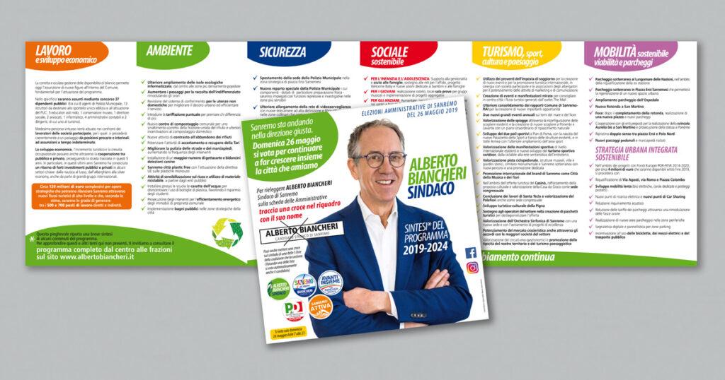 Il pieghevole con le 6 priorità del nuovo programma di Biancheri 2019/2024