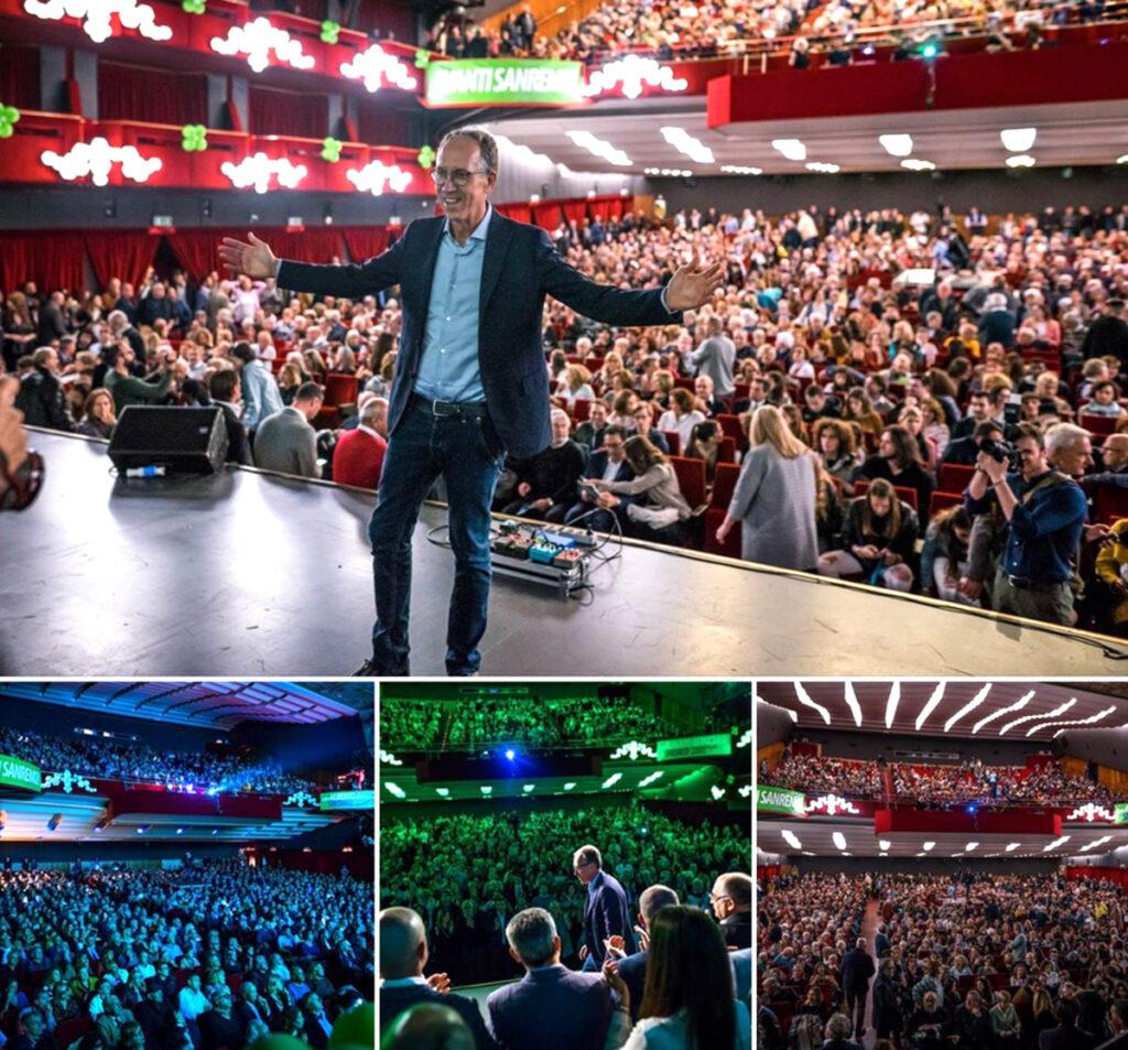 Alberto Biancheri abbraccia i candidati sul palco dell'Ariston