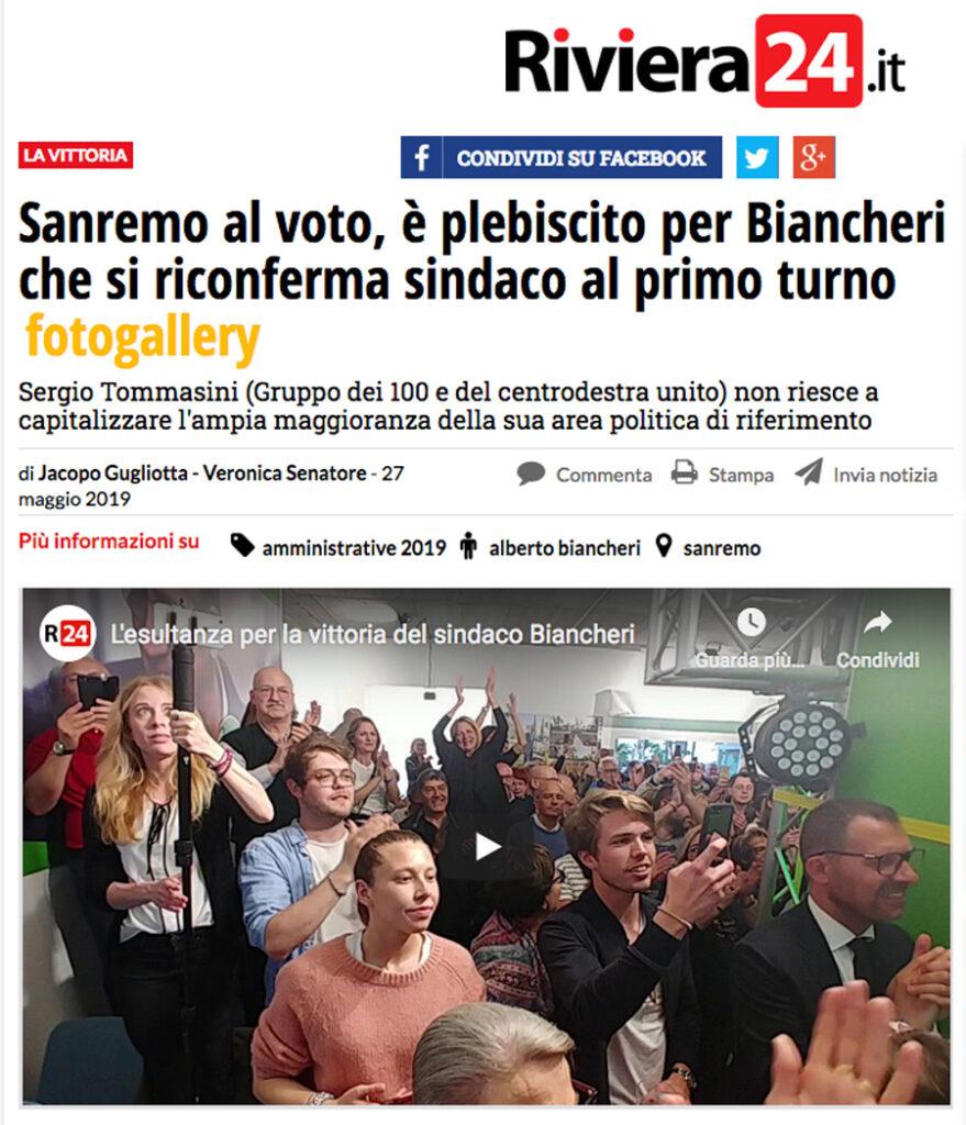 Riviera 24 annuncia il plebiscito per Biancheri