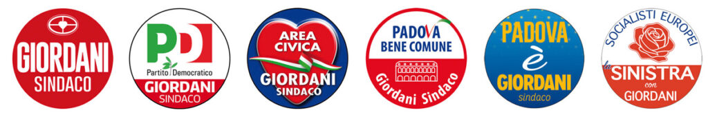 Le civiche e i partiti della coalizione di Giordani Sindaco