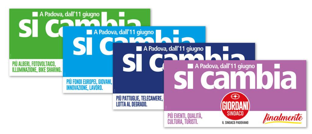 """i poster 6x3 con il claim """"Si cambia"""""""