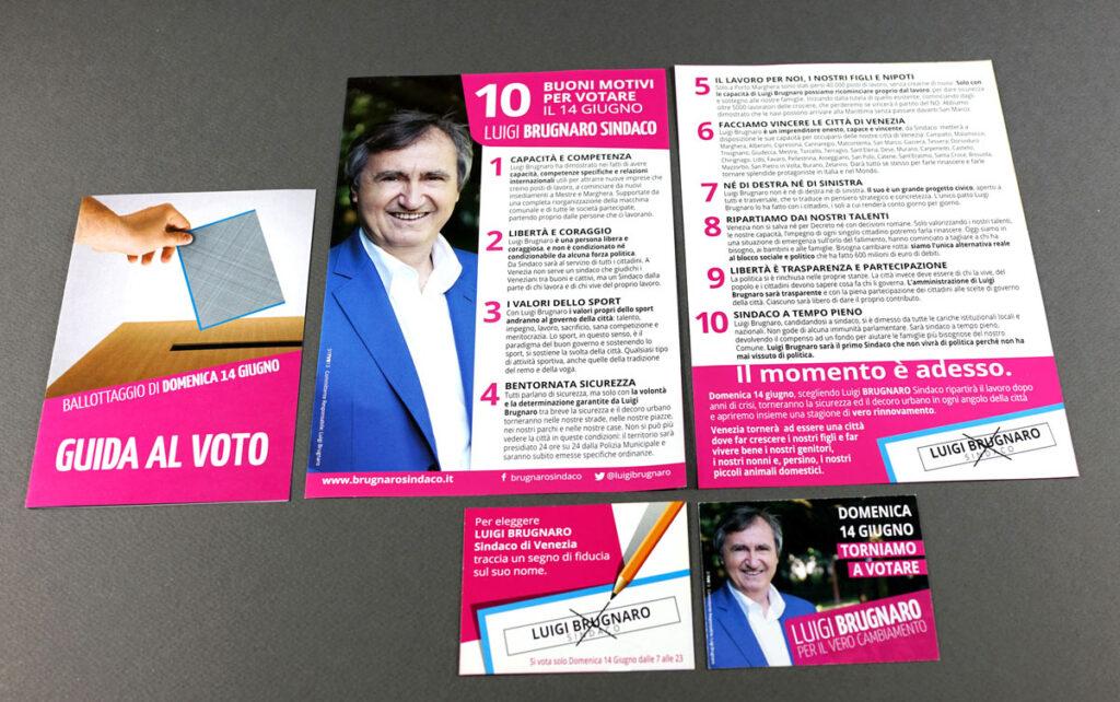"""Il volantino """"10 buoni motivi per scegliere Brugnaro"""" e la Guida al voto"""