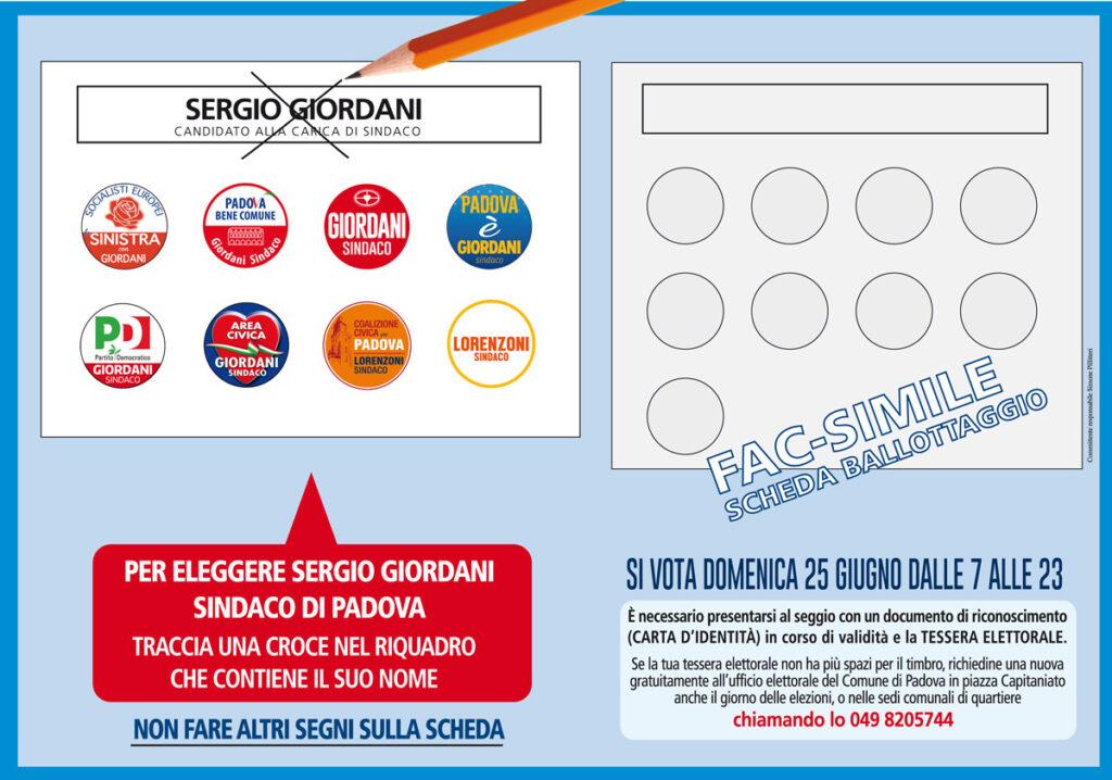 Il facsimile del ballottaggio con la coalizione di Giordani allargata a Coalizione Civica