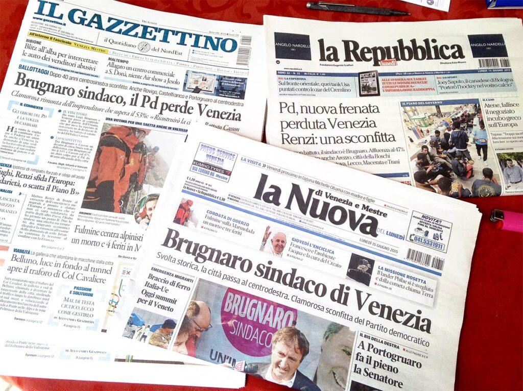 La vittoria di Brugnaro sui quotidiani nazionali e locali