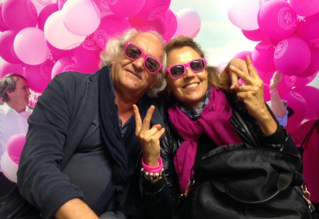 Io con mia moglie Luisa in fucsia la sera della vittoria